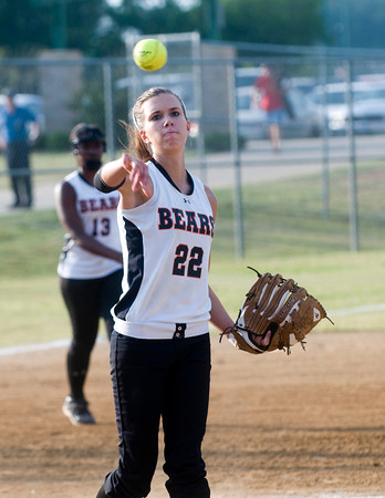 Gladewater's Katie Hickey throws the ball to first for and out during action against Atlanta Monday, April 30, 2012, at Lear Park in Longview.  (Kevin Green/News-Journal Photo)