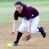 Atlanta's Ashlyn Dodson fields a ball during action against Gladewater Monday, April 30, 2012, at Lear Park in Longview.  (Kevin Green/News-Journal Photo)
