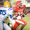 Carthage's #25 breaks for a first down during Friday's August 31, 2012, game against Jacksonville. (Les Hassell/News-Journal Photo)