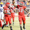 Carthage's #62 celebrates after picking up a loose ball during Friday's August 31, 2012, game against Jacksonville. (Les Hassell/News-Journal Photo)