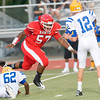 Carthage's #57 pressures the quarterback during Friday's August 31, 2012, game against Jacksonville. (Les Hassell/News-Journal Photo)