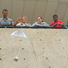 Longview High School junior Markel Dillinger, Jennifer Boudreau, Jenni Scoggins, Patrick Montgomery Cory Rogers watch as Dillinger drops his egg Wednesday, Feb. 29, 2012, during Jennifer Smith's physics class at the high school in Longview.  (Kevin Green/News-Journal Photo)