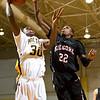 Kilgore's Jerrick Mussenburge blocks Pine Tree's Caleb Chumley's shot at the basket during Tuesday's Jan. 3, 2012 game. (Les Hassell/News-Journal Photo)