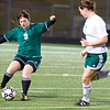 2009 graduate Jenni Weeks takes control of the ball during the Longview High School girls soccer team annual alumni soccer game Tuesday, Jan. 3, 2012 at Longview High School. (Les Hassell/News-Journal Photo)