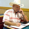 Upshur County Sherriff Anthony Betterton takes a phone call while waiting for election results Tuesday, July 31, 2012 at the Dairy Queen in Gilmer. (Les Hassell/News-Journal Photo)