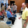 Brad Morin smiles as he visits with supporters as he checks the early voting totals Tuesday, July 31, 2012, at the Harrison County Elections Office in Marshall.  (Kevin Green/News-Journal Photo)