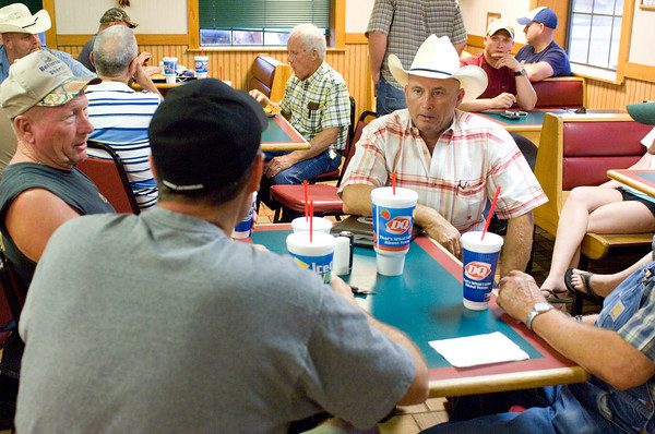 Upshur County Sherriff Anthony Betterton visits with supporters while waiting for election results Tuesday, July 31, 2012 at the Dairy Queen in Gilmer. (Les Hassell/News-Journal Photo)