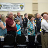 Law enforcement officials and guests join in the Pledge of Allegiance at the Giants of Law Enforcement banquet Tuesday, May 15, 2012. (Les Hassell/News-Journal Photo)