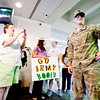 U.S. Army Private First Calss Colton Brown is greeted by family, friends, and the Welcome Home Soldier group, on Tuesday, May 15, 2012, at the East Texas Regional Airport. (Michael Cavazos/News-Journal Photo)