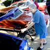 Whispiring Pines Nursing Home resident Bonnie McCormick looks at cars  during a car show Wednesday, Oct. 31, 2012, at the facility in Longview.  (Kevin Green/News-Journal Photo)