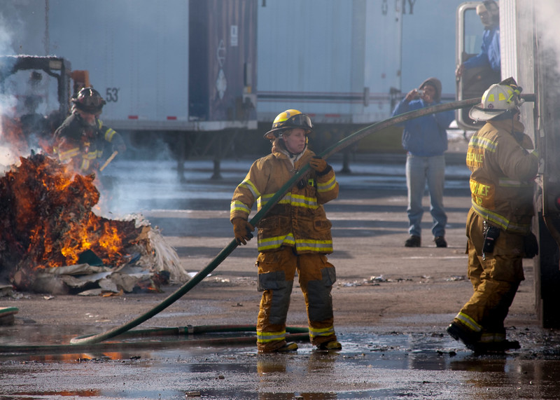Bensenville FD Compacted paper in trailer fire - Jan. 28, 2010