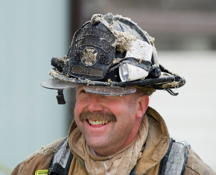 Streamwood Firefighter happy to take a break.