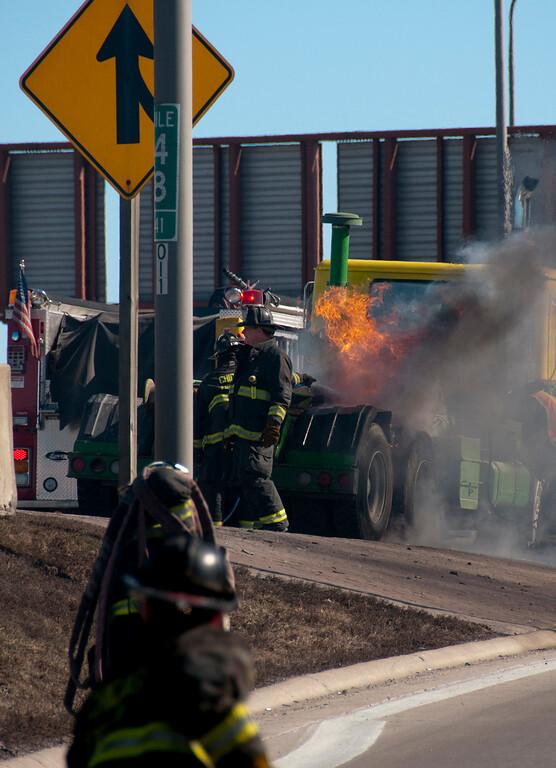 Chicago Fire Department Truck Fire on Kennedy Inbound - March 4, 2010
