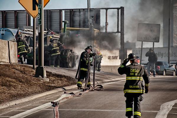 ChicagoFD - March 4, 2010 - Truck Fire on Kennedy Inbound