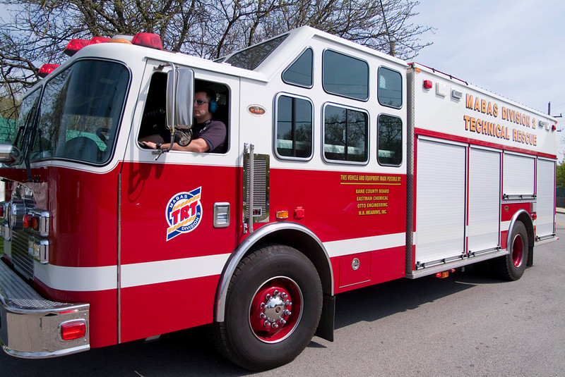 Elgin Firefigher Chris Clausen driving the TRT Truck.