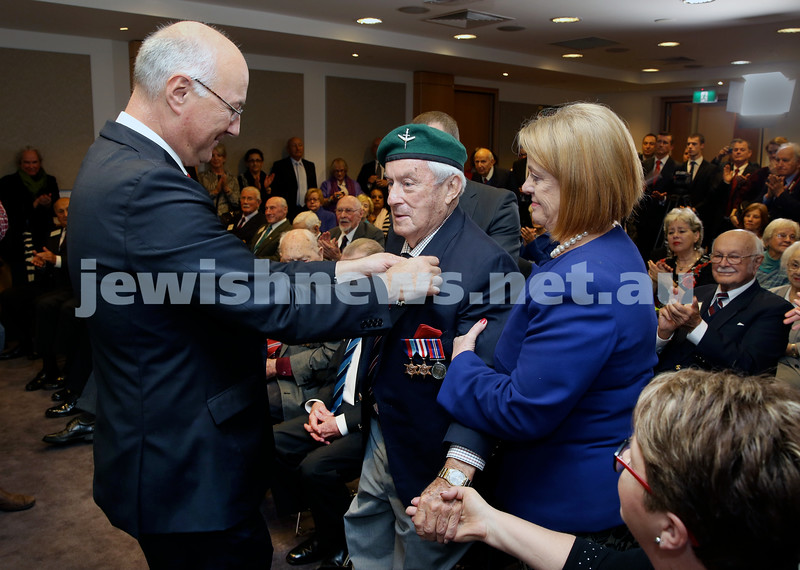 Mr Eric Berti, Consul-General of France in Sydney presents WWII veteran John Waxman with France's highest military medal the Légion d'Honneur at a ceremony earlier today.
