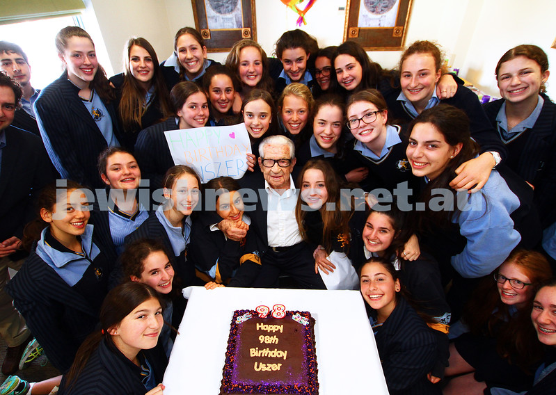 28-4-15. Emmy Monash Aged Care. Students from years 9 to 12 help celebrate Uszer's 98th birthday. Photo: peter haskin