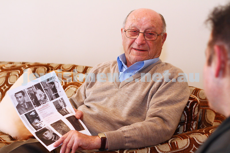 25-5-15. Jack Fogel, Holocaust survivor and witnessed the sinking of a  prison boat , speaking with AJN journalist Peter Kohn. Photo: Peter Haskin