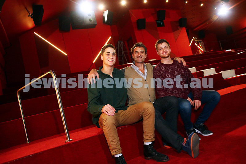 10-6-15. Lido Cinemas. Benji, Eddie and Josh Tamir sitting inside one of the almost completed new cinemas at the Lido, which re opens on June 25, 2015. Photo: Peter Haskin