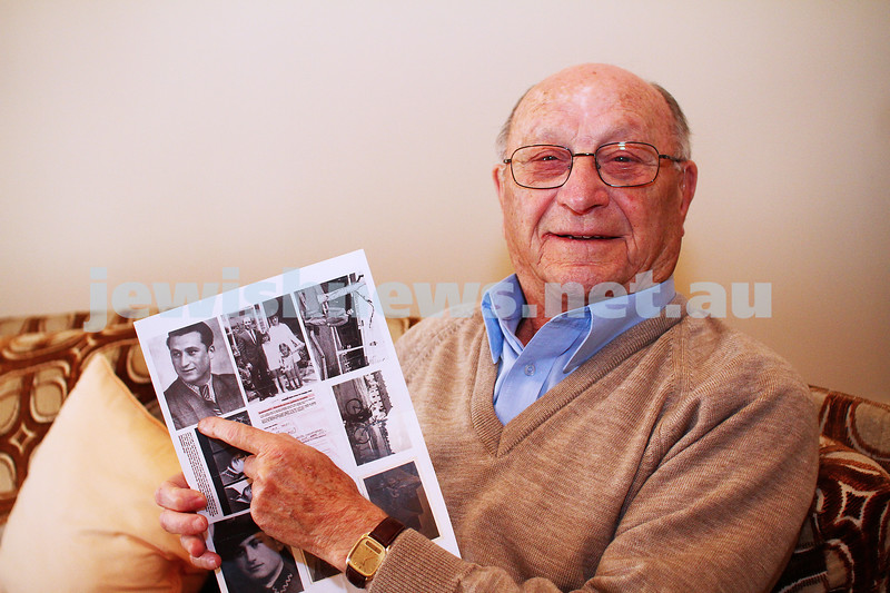 25-5-15. Jack Fogel, Holocaust survivor and witness to the sinking of a prison boat , points to a photo of himself. Photo: Peter Haskin