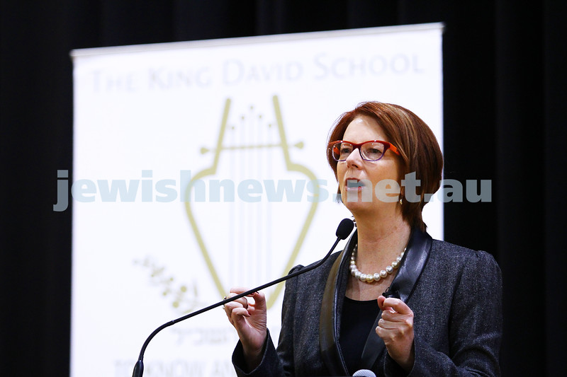 9-6-15. Former Australian Prime Minister Julia Gillard at The King David School where she addressed a gathering of Year 11 and 12 students. Photo: Peter Haskin