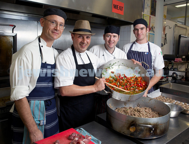 Visiting Israeli Chef Yossi Bendayan in Sydney for Yom Haatzmaut. Pictured at OBK. L-R Didier Schwartz, Yossi Bendayan, Gavin McEvitt, Ellis Harwood.