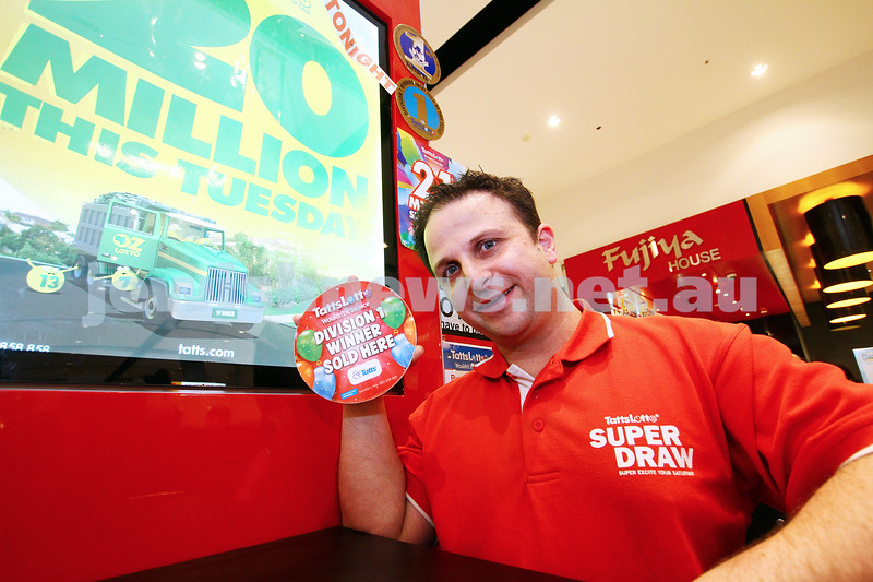 28-7-15. Adrian Zalcman sold first division winning tickets for Tattslotto on the same day two years in a row . Photo: Peter haskin