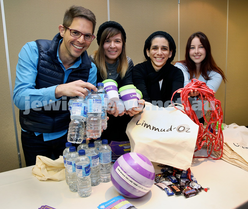 "Getting ready for Limmud Oz. Brando Srot, Dana Amir, Justine Saidman, Shailee Mendelevich pack ""showbags"" for Limmud Oz."