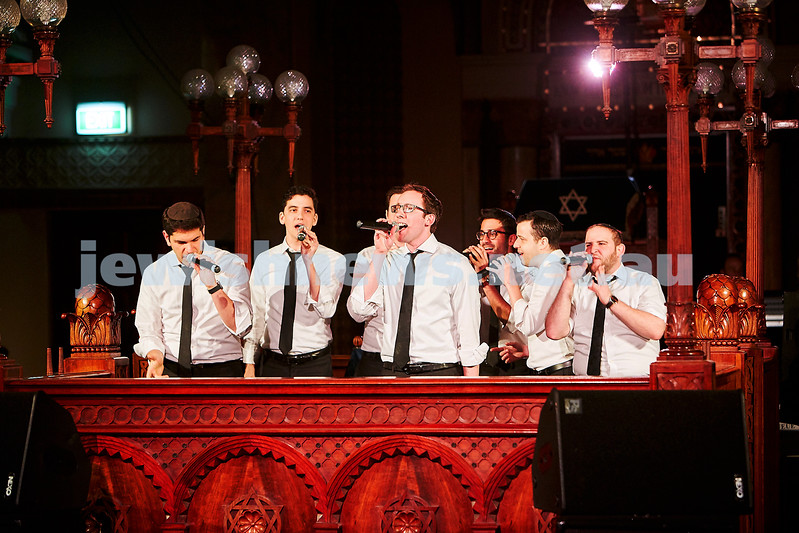 Maccabeats performing at St Kilda Shul. Photo: Paul Topol