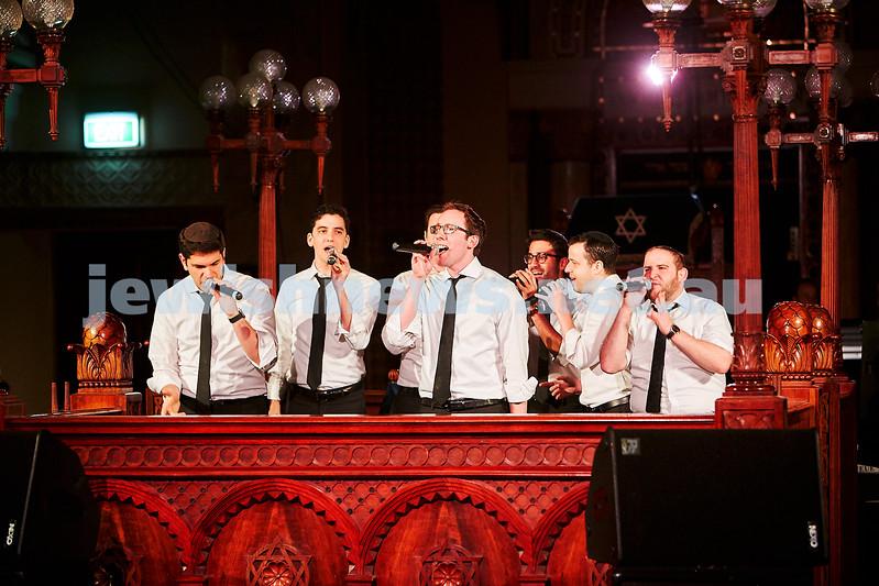 Maccabeats performing at St Kilda Shul. Photo: Paul Topol