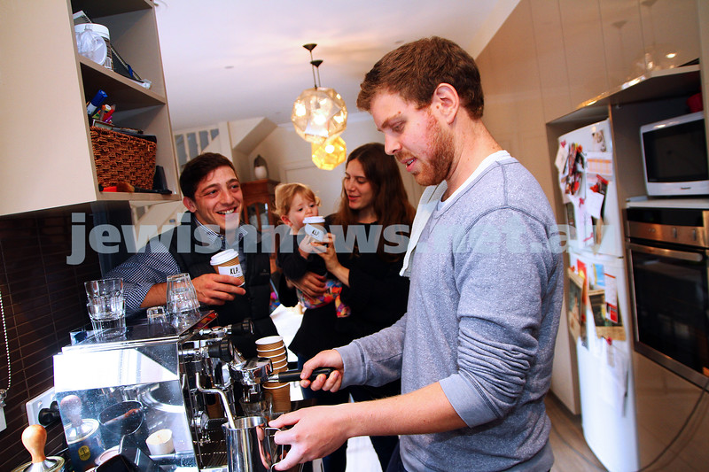 7-4-15. Koffee le Pesach. Motti Blum serving kosher le pesach coffee  to some happy customers at his home. All money raised from the sales go to charity. Photo: Peter Haskin