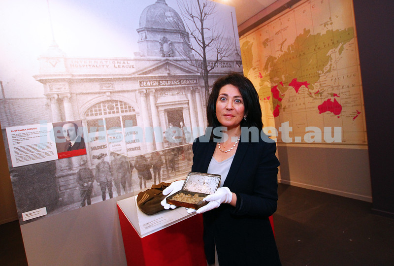 18-6-15. Jewish Museum of Australia. Curator of the upcoming World War I exhibition Deborah Rechter holding a box containing pebbles from Gallipoli beach Photo: Peter Haskin