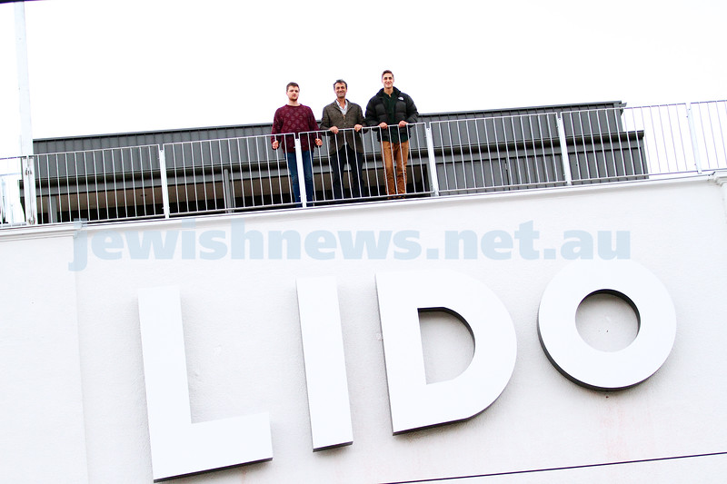 10-6-15. Lido Cinemas. Josh, Eddie and Benji Tamir standing on the roof top of the almost completed new cinemas at the Lido, which re opens on June 25, 2015. Photo: Peter Haskin