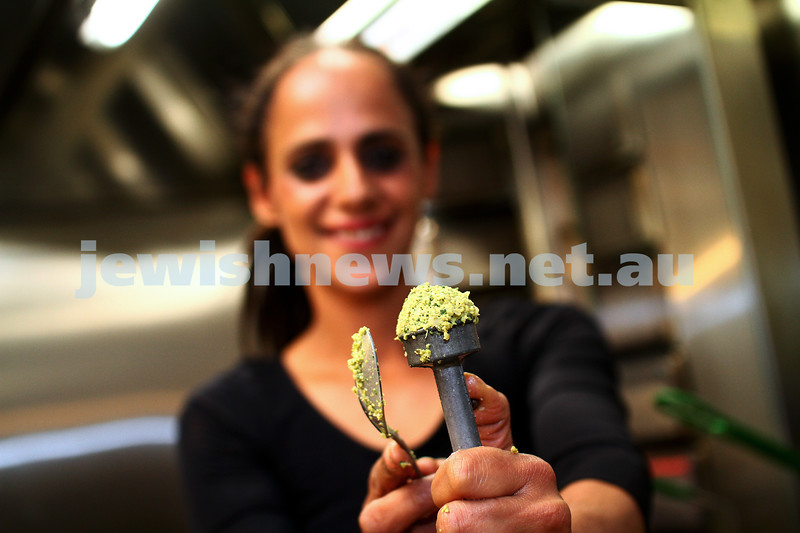 13-4-15. Hilulim kosher cafe. Ravit Gabai holds up a falafel ball ready to be cooked. photo: peter haskin