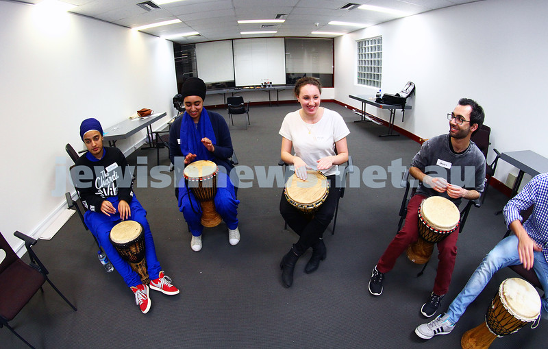 21-7-15. ADC multifaith young leaders seminar 2015. Beth Weizmann. Drum session. Photo: Peter Haskin