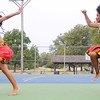 from the left: Jurnee Young, 19 and Tierra Thompson, 17, of the St. Louis-based dance troupe Afriky Lolo entertain the crowd on Saturday during the annual Emancipation Park Days at Ewert Park. The traditional African dance company features youth as young as three-years-old and also includes an adult troupe.<br /> Globe | Laurie Sisk