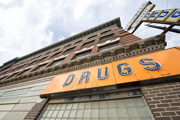 The Commerce Building, formerly the longtime home of Crowell Drug in Pittsburg, is one of several buildings included in the Block 22 development project.<br /> Globe | Laurie SIsk