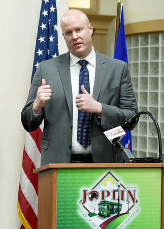 Joplin's new City Manager Nick Edwards introduces himself during a press conference on Wednesday at Joplin City Hall. Edwards is a native of the Joplin area.<br /> Globe | Laurie Sisk