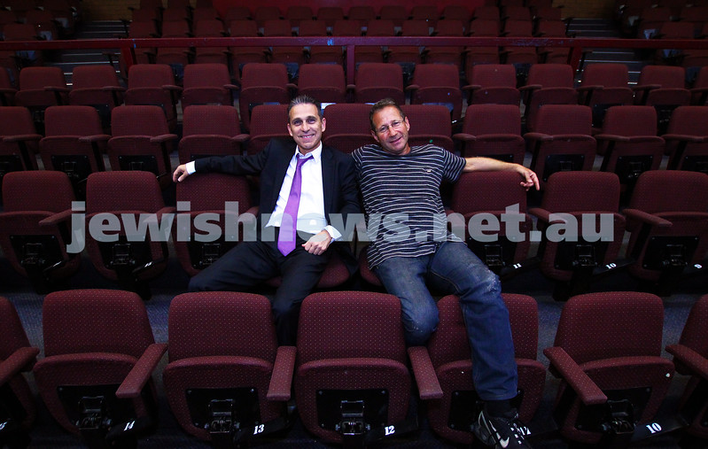 20-3-15. The reurn of Salt Pillar. Raoul Salter and Steven Curtis sitting in the Phoenix Theatre. Photo: Peter Haskin