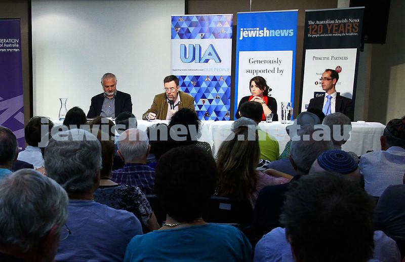 22-3-15. Israeli election panel discussion at Beth Weizmann. From left: Sam Tatarka, Greg Sheridan, Or Avi-Guy, Nathan Jeffay. Photo: Peter Haskin