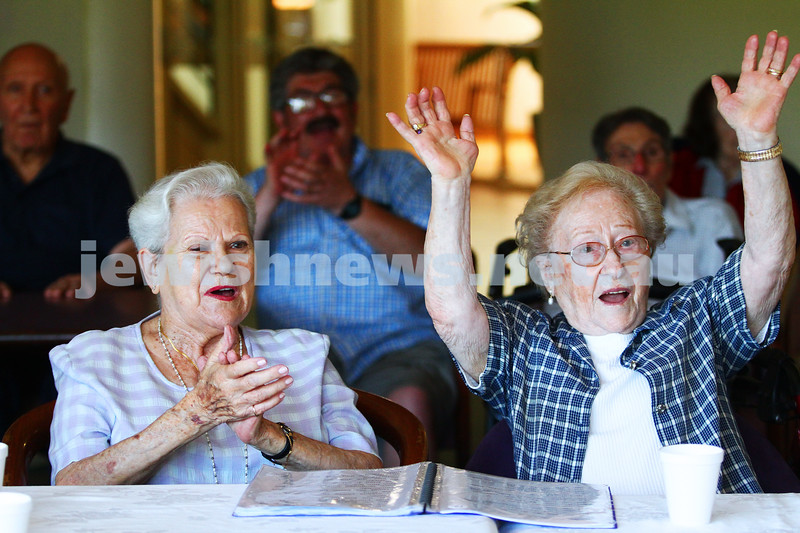 10-2-15. In Focus. The Moment. Judy Glotzer (left) and Chana Achiezer getting into the spirit of the weekly Morning Melodies at Emmy Monash Aged Care. Photo: Peter Haskin