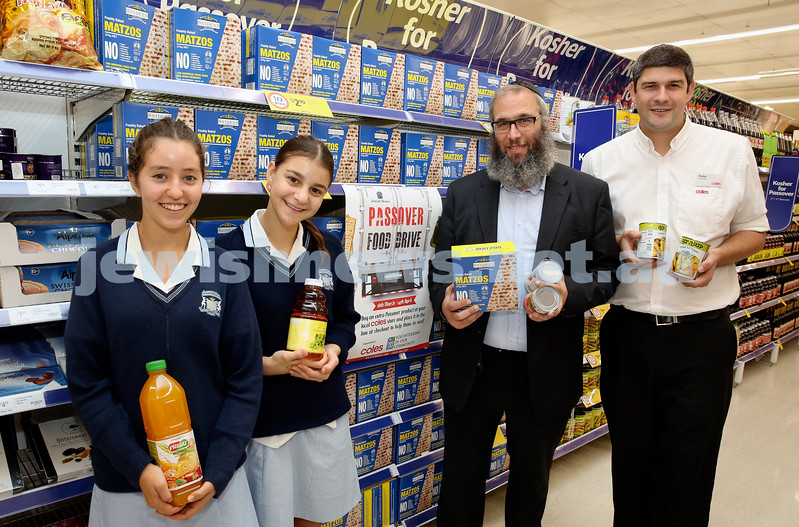 Jewish House & Coles Passover Food Drive. JNF Volunteers & Moriah College students Jessica Meskin and Jess Liebovitz together with Rabbi Mendel Kastel and Coles store mgr Peter Markovits.