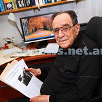 23-2-15.  Stan Marks at home with some of the many articles he has contributed to the Australian Jewish News over the years. Photo: Peter Haskin