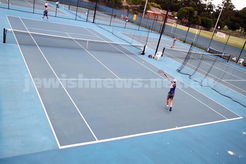 Leon Haskin Tennis Centre. Maccabi Tennis. Arthur Kaganovitch fires off a forehand. photo: peter haskin