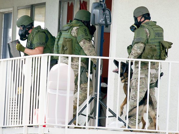 Joplin Police SWAT officers, armed with a K-9 officer, breach the door where they believe a suspect, Don Loomis is hiding at the Motel 6 on Rangeline on Wednesday. The stand-off began about 9 a.m. and continued well into the afternoon hours.<br /> Globe | Laurie Sisk