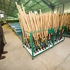 Neosho National Fish Hatchery Acting Manager Roderick May stands next to the 500 fishing poles supplied to guests at the annual kids' fishing derby. Outside poles are not allowed because they may contain disease from other waters. Bait for the event also is supplied by the hatchery.<br /> Globe | Laurie Sisk