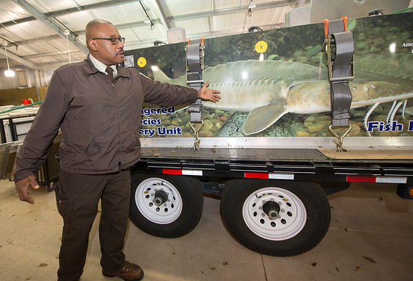 Neosho Fish Hatchery Acting Manager Roderick May stands next to the hatchery's Endangered Species Recovery Unit on Wednesday at the hatchery. May hopes to soon fill the permanent management position and continue the pallid sturgeon species recovery program.<br /> Globe | Laurie Sisk