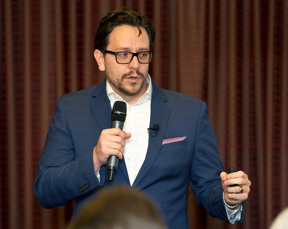 Shawn Naccarato, Executive Director of Center for Innovation and Business Development at Pittsburg State University, discusses the advantages of the Block 22 development project during the Pittsburg Area Chamber of Commerce luncheon on Friday at PSU.<br /> Globe   Laurie SIsk