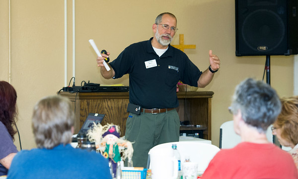 University of Missouri Extension Regional Horticulture Specialist Patrick Byers talks about soil testing during a day-long Community Garden Workshop on Wednesday at Central United Methodist Church in Webb City.<br /> Globe | Laurie Sisk