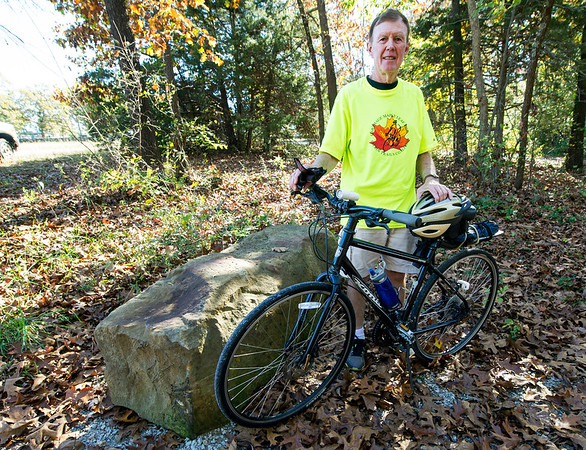 Joplin Trails Coalition boardmember Robert Blackford stands near the beginning of the Ruby Jack Trail in Carthage before a ride on Thursday.<br /> Globe   Laurie Sisk